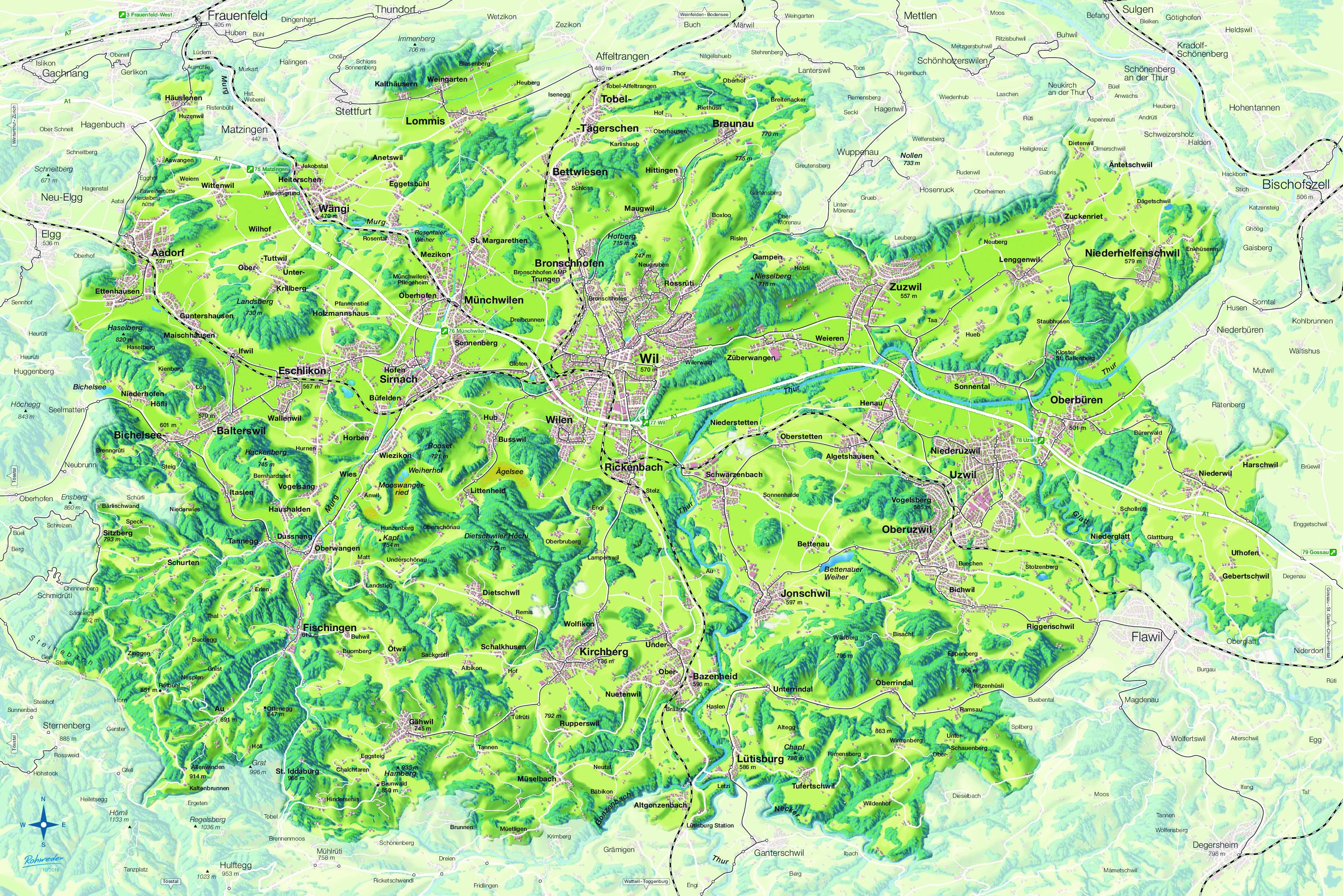Regiokarte Wil und Umgebung